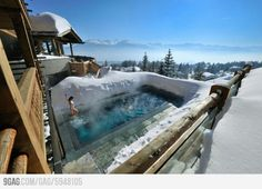 Climb the Swiss Alps in Switzerland. Hit the slopes, then relax in this heated pool at Lecrans hotel spa, Switzerland. Outdoor Heated Pools & Spas are definitely must Photo by © Lecrans Hotel & spa Checkout our new travel hub Spa Hotel, Hotel Pool, The Places Youll Go, Places To See, Places To Travel, Travel Destinations, Winter Destinations, Dream Vacations, Vacation Spots
