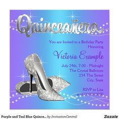 Purple And Teal Blue Quinceanera 525x525 Square Paper Invitation Card Birthday Parties