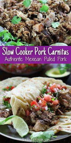 This Pork Carnitas recipe always turns out tender and flavorful. Makes great tacos, nachos, burritos, quesadillas, eggs, etc. #PorkCarnitasSlowCooker #PorkCarnitas #PorkCarnitasRecipes #AuthenticPorkCarnitas #MexicanShreddedPork #MexicanShreddedPorkCrockpot Pork Recipes For Dinner, Meat Recipes, Slow Cooker Recipes, Real Food Recipes, Pork And Beef Recipe, Pork Carnitas Recipe, Mexican Pulled Pork, Shredded Pork, Easy Homemade Recipes