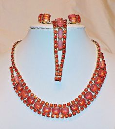 1773~Spectacular Vtg Red Orange Rhinestone Moonglow Set Necklace Bracelet Earing
