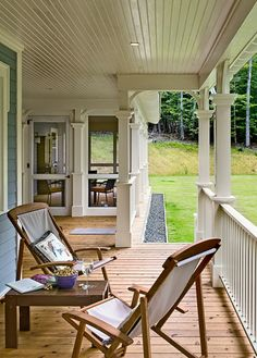 Open Porch Looking Toward Screened Porch - Crisp Architects