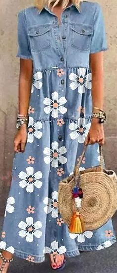 Denim Shirt Dress, Casual Summer Dresses, Refashion, Autumn Winter Fashion, Girl Outfits, Floral Prints, Short Sleeve Dresses, Feminine, Clothes