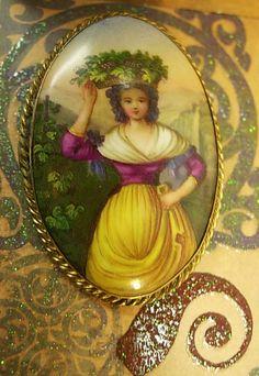 ANtique bohemian woman portrait Cameo brooch by vintagesparkles, $125.00
