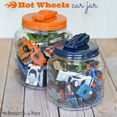 Wide mouth jar becomes perfect storage for toy cars with addition of fun car lids.