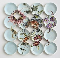 "..  the work of ceramicist Molly Hatch who creates the most lovely hand-painted plate ""paintings"" that she installs in groups."