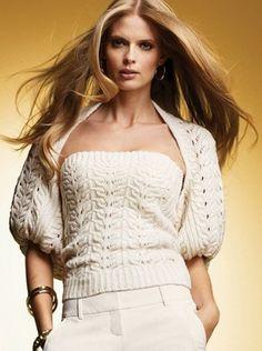 Красивое болеро спицами и топ спицами Victoria's Secret со схемой и подробным описанием вязания. Лучшие болеро спицами схемы на сайте Колибри.