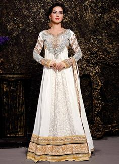 Buy Off White Faux Georgette and Brasso Salwar Kameez online from the wide range of Indian Salwar Kameez at Cbazaar.com. Off White Salwar Kameez is the most popular product in the market. Buy Online Designer Anarkali Suits at a price of USD 79 from Cbazaar.
