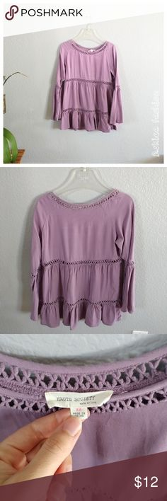 "Haute society bell sleeves top Long sleeves lavender top.  Condition: very good Size: XS Measures:  Bust flat - 16.25:  Length - 25"" Materials: 100% rayon Tops"