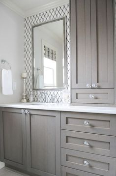 Dreaming of an extravagance or designer master bathroom? We have gathered together plenty of gorgeous master bathroom tips for small or large budgets, including baths, showers, sinks and basins, plus bathroom decor some ideas. Bathroom Renos, Bathroom Renovations, Home Remodeling, Bathroom Ideas, Bathroom Storage, Bathroom Designs, Master Bathrooms, Bathroom Organization, Bathroom Cupboards