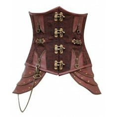 Brown brocade underbust corset with brass buckle fasterners and hip detailing.