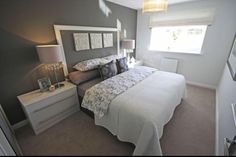 Grey and white bedroom.