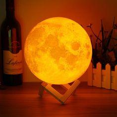 18cm Touch Sensor 3D Moon Lamp USB Color Changing LED Luna Night Light Kids Gift Sale - Banggood Mobile