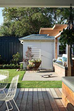 shed grass patio Winter Home Decor, Winter House, Outdoor Rooms, Outdoor Living, Outdoor Decor, Outdoor Patios, Backyard Patio, Backyard Landscaping, Backyard Ideas