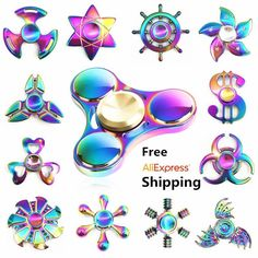 Rainbow brass Fidget Spinner Finger ABS EDC Hand Spinner Tri For Kids Autism ADHD  Anxiety Stress Relief Focus Handspinner Toys