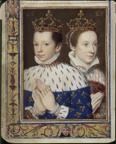 Family portrait from Catherine de Medicis´s beautiful Book of Hours, which was created in the early 1570s and contains portraits of fifty eight members of her family. It's now kept in the Louvre. Heere, her son, François II and his wife, Mary of Scotland.