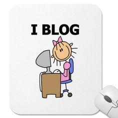 Stick figure girl I Blog mouse pad. #blogging #mousepad