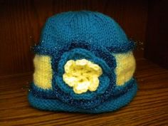 Turquoise and Cream Flower Cloche by IllusionsbyDonna for $25.00