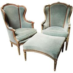 French Louis XVI Style Duchesse BriseePair of Bergeres with Ottoman is part of Bergere chair - For Sale on A French Louis XVI style threepiece Duchesse Brisee with a painted finish Luxury Home Furniture, Luxury Homes Interior, French Furniture, Living Furniture, Antique Furniture, White Furniture, Rustic Furniture, Modern Furniture, Outdoor Furniture