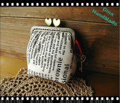 Vintage style newspaper heart-bead metal frame purse / Coin Wallet / Pouch coin purse / Kiss lock frame purse bag-GinaHandmade. $19.80, via Etsy.