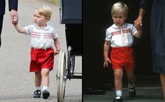 Prince George (left) wears a similar outfit to the one his father Prince William wore when Prince Harry was born in 1984