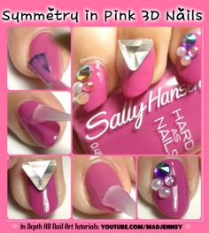 Symmetry in Pink 3D Nails  Watch HD Nail Tutorial! http://youtu.be/lhQYZG4g8NU #nails #nailart #tutorial #HDnails #HDtutorial #youtube #beautyguru #nailartist @Sally McWilliam Hansen