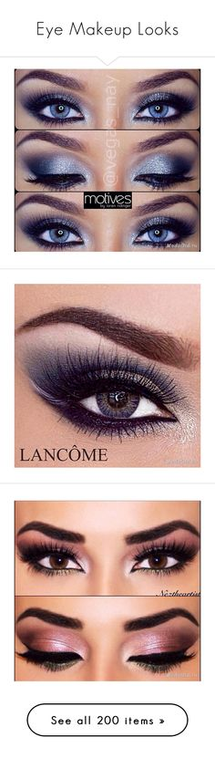 """Eye Makeup Looks"" by lindaweldon ❤ liked on Polyvore featuring makeup, beauty products, eye makeup, eyes, gray eye makeup, kohl makeup, blue makeup, palette makeup, mini makeup and eyeshadow"