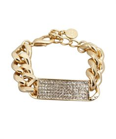 R.J. Graziano gold and crystal id bracelet