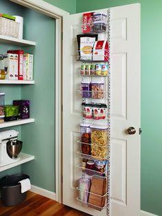 Adjustable Wall Door Rack Storage Food Can Pantry Closet Hobby Organizer 8 Tier Pantry Door Organizer, Small Pantry Organization, Home Organization Hacks, Pantry Storage, Kitchen Storage, Storage Spaces, Pantry Ideas, Pantry Rack, Food Storage