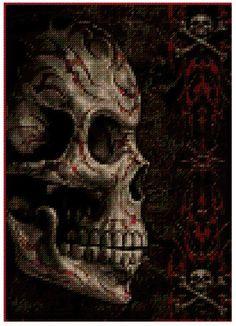 Skull Cross stitch pattern chart PDF file by EmmiesCrossStitchPDF, £2.99