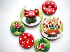 polymer clay button gnomes ..Use as magnets for fridge