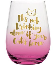 Slant Collections 20 oz Stemless Wine Glass Not Drinking Alone *** For more information, visit image link.