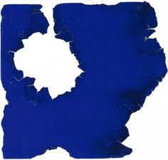 Yves Klein, Blue Monochrome Torn by Fire, c. 1959, dry blue pigment on paper, 18 x 19.3cm