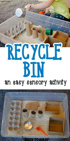 Make a Recycled Sensory Bin - love this quick and easy toddler activity! Check out this awesome recycled sensory bin. What a great quick and easy toddler activity! Toddlers will love this fun sensory bin activity! Toddler Learning Activities, Montessori Toddler, Montessori Activities, Toddler Play, Infant Activities, Toddler Preschool, Toddler Sensory Bins, Recycling Activities For Kids, Nursery Class Activities