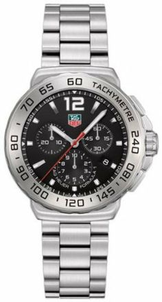 TAG Heuer Men's CAU1112.BA0858 Formula 1 Black Dial Chronograph Quartz Watch TAG Heuer. $1175.00. Black dial. Quartz movement. Stainless steel bracelet. Chronograph feature. Water-resistant to 200 M (660 feet). Save 29%!