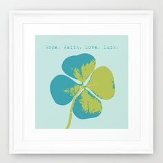 Blue Four Leaf Clover Print