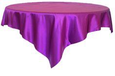 "85"" Square Satin Table Overlay - Purple 51243 (1pc/pk)"