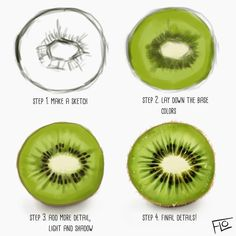 The steps I took painting a kiwi 😊 What's your favorite fruit? I love strawberries 🍓 and cherries 🍒 . Fruits Drawing, Food Drawing, Drawing Tips, Drawing Faces, Digital Painting Tutorials, Digital Art Tutorial, Art Tutorials, Ipad Art, Ipad Kunst