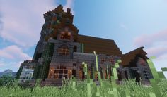 haunted house on the hill , made for haloween Minecraft Jungle House, Minecraft Starter House, Minecraft Medieval House, Real Minecraft, Minecraft Mansion, Cute Minecraft Houses, Minecraft House Designs, Medieval Houses, Minecraft Blueprints