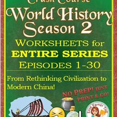 @greathistory posted to Instagram: Tap the link in my bio for more info: @greathistoryteaching⁣ TAKE A THEMATIC APPROACH TO WORLD HISTORY! Now Complete -- Crash Course World History Season 2 Worksheets for the Entire Series -- covers ALL of World History Season 2! One worksheet per episode with a time stamp option on every question! Some episodes also feature a map worksheet! A variety of question types for high student engagement; detailed, annotated answer keys with suggestions for…