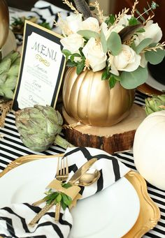 Gold + black and white table decor for Thanksgiving