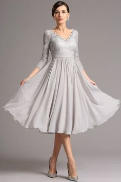 Tea Length Grey Vintage Lace Chiffon A-line Cocktail Dress with 3 4 Sleeves 566bde5dc48