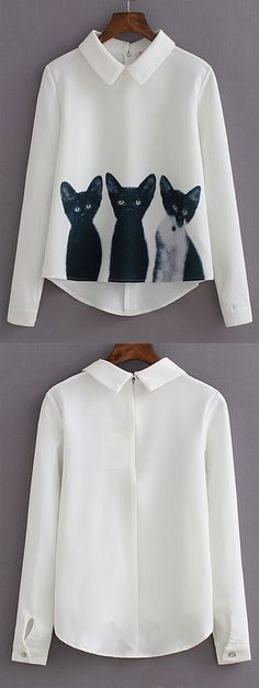 White Lapel Long Sleeve Cats Print Blouse from shein