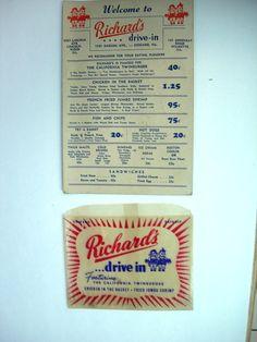 Vintage Richards Drive In Diner Roadside Menu by NeatstuffAntiques, $49.95