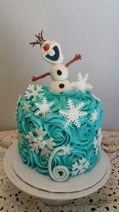 Olaf rosette cake... Chocolate cake with buttercream frosting. Homemade.