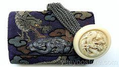 ANTIQUE Japanese embroidery TOBACCO POUCH & carved BONE manju DRAGON NETSUKE