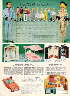 1962 sears christmas book page 411 fashions furniture structure cases vehicle bedroom furniture barbie ken