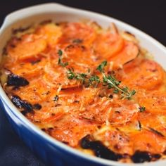In this simple cheesy sweet potato gratin sweet potatoes gruyere cheddar garlicky cream and fresh thyme come together to create a delicious twist on the classic potato casserole. Cooking Recipes, Healthy Recipes, Thanksgiving Recipes, Thanksgiving Feast, Side Dishes, Good Food, Yummy Food, Broccoli, Favorite Recipes