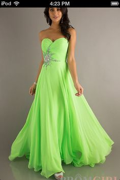 Hot Sale New Neon Lime Presentation Ball Prom Dress Evening Dress ...