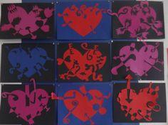 positieve en negatieve ruimte, hart (valentijn), groep 8, knippen. Gezien op Pinterest