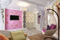 ▷ 1001 + ideas for youth room girl decor and decoration - Traumzimmer Purple Bedroom Design, Girls Room Design, Nursery Design, Cool Curtains, Curtain Room, Girl Decor, Girl Room, Bunk Beds, House Design